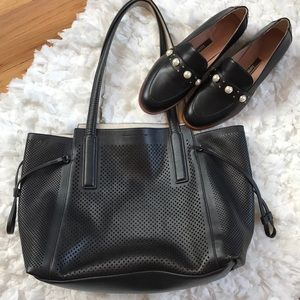 French Connection Black Perforated Tote